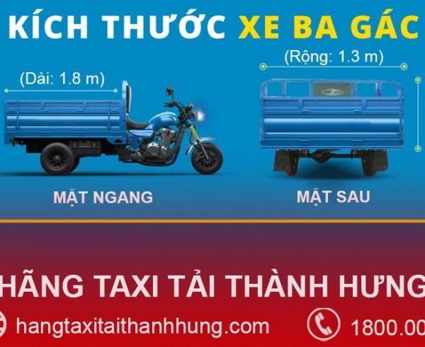 Kích thước thùng xe ba gác máy tiêu chuẩn phổ biến hiện nay